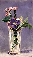 Pinks and Clematis in a Crystal Vase, c.1882, manet