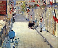 Rue Mosnier decorated with Flags, 1878, manet