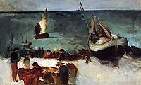 Seascape at Berck, Fishing Boats and Fishermen, 1873, manet