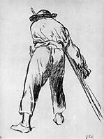 Sketch of moving farmer, manet