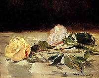 Two roses on a tablecloth, c.1883, manet