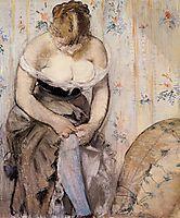 Woman fastening her garter, 1878, manet