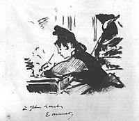 Woman writing, c.1863, manet