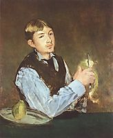 A young man peeling a pear (Portrait Of Leon Leenhoff), 1868, manet