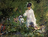 Young woman among the flowers, 1879, manet