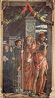 Altarpieceof SanZeno inVerona, right panelof St.Benedict,St. Lawrence, St.GregoryandSt.John theBaptist, 1459, mantegna