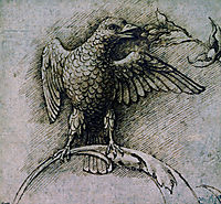 Bird on a branch, 1485, mantegna