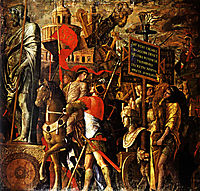 Captured statues and siege equipment, a representation of a captured City and inscriptions (Triumph of Caesar), 1500, mantegna