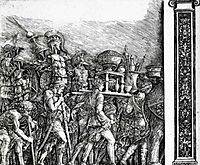 Holders of currencies and gold jewelry, trophies royal armor with pilasters, 1500, mantegna