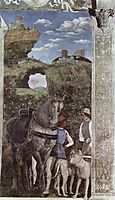 Horse and groom with hunting dogs, from the Camera degli Sposi or Camera Picta(detail), mantegna