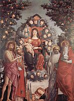 Madonnawith saints St.John theBaptist, St.Gregory Ithe Great,St.Benedict, 1506, mantegna
