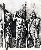 The resurrected Christ between St. Andrew and Longinus, 1475, mantegna