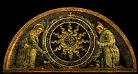 Saint Anthony of Padua and St. Bernardine of Siena presenting the monogram of Christ, mantegna