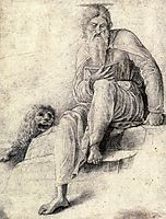 Saint Jerome reading with the Lion, 1500, mantegna