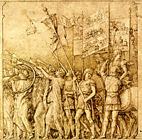 Trumpeters, carrying flags and banners, mantegna