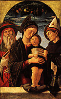 The Virgin and Child with Saint Jerome and Louis of Toulouse, 1455, mantegna