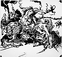 Lion Hunt (after Delacroix), 1913, marcfrantz