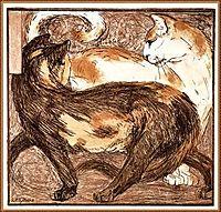 Two cats, 1909, marcfrantz