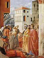 Distribution of Alms and Death of Ananias, 1425, masaccio