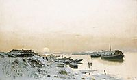 Sunrise in the Snowy Riverside, mednyanszky
