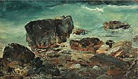Coastal scene with larger rocks, 1862, melbye