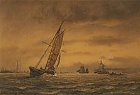 Numerous sailing ships at sea, 1858, melbye