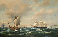 Sailing off the English coast, 1862, melbye