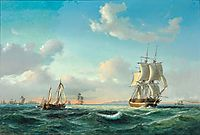 The sailing ship 'Johanna' and other vessels in Sundet off Kronborg Castle, 1849, melbye