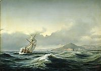 Seascape with sailing ship in rough sea, 1844, melbye