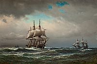 Ships at sea, 1867, melbye