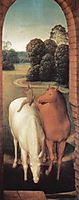Allegorical representation of two horses and a monkey, 1490, memling