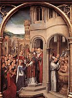 The arrival of St. Ursula and her companions in Rome to meet Pope Cyriacus, from the Reliquary of St. Ursula, memling