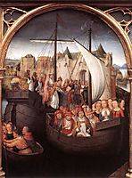 The Departure of Saint Ursula from Basle, panel from The Reliquary of St. Ursula, 1489, memling