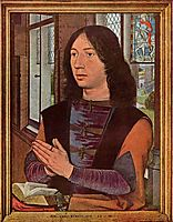 The Donor, from the right wing of the Diptych of Maerten van Nieuwenhove , 1487, memling
