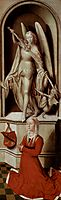 The Last Judgment, triptych, right wing Praying donor Catherine Tanagli with archangel Michael, 1471, memling