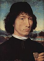 Portrait of a Man holding a coin of the Emperor Nero , 1474, memling