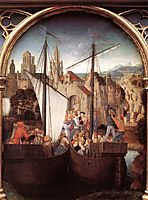 St. Ursula and her companions landing at Basel, from the Reliquary of St. Ursula , 1489, memling