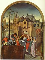 St. Ursula and her companions landing at Cologne, from the Reliquary of St. Ursula , 1489, memling