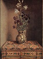 Still Life with a Jug with Flowers. The reverse side of the Portrait of a Praying Man, c.1480, memling
