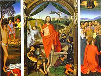 Triptych of the Resurrection: The Resurrection (centre) The Martyrdom of St. Sebastian (left) and The Ascension (right) , 1490, memling