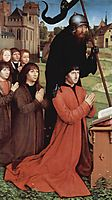 Triptych of Willem Moreel, left wing, the founder Willem Moreel, his sons and St. William of Maleval, 1484, memling