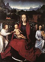 Virgin and Child in a Rose Garden with Two Angels, c.1480, memling