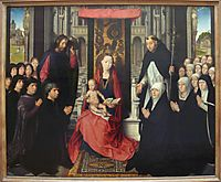 The Virgin and Child with St. James and St. Dominic Presenting the Donors and their Family, known as the Virgin of Jacques Floreins, c.1490, memling