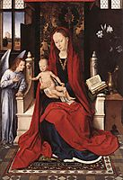 Virgin Enthroned with Child and Angel, c.1480, memling