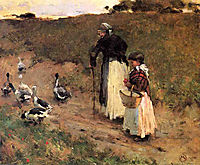 Old Woman with Child and Goose, 1885, metcalf