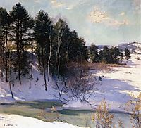 Thawing Brook (Winter Shadows) , 1911, metcalf