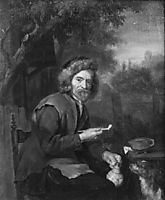 An Old Man Holding a Pipe and a jug, metsu