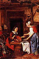 An Old Woman Selling Fish, metsu