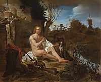 A Hunter Getting Dressed after Bathing, c.1656, metsu