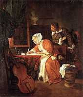 The Letter Writer Surprised, c.1662, metsu